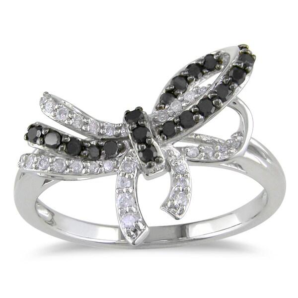 Miadora 10k White Gold 1/3ct TDW Black and White Diamond Bow Ring