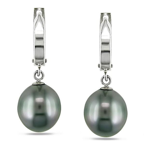 Miadora 14k White Gold Tahitian Black Pearl Drop Earrings