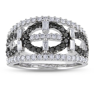 Miadora Signature Collection 14k White Gold 1 1/5ct TDW Black and White Diamond Ring