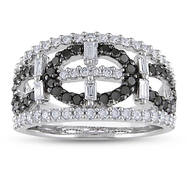 Miadora Signature Collection 14k White Gold 1 1/5ct TDW Black and White Diamond Ring (G-H, I1-I2)
