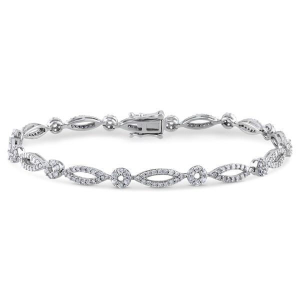 Miadora 10k White Gold White Sapphire 1ct TDW Diamond Bracelet (G-H, I1-I2)