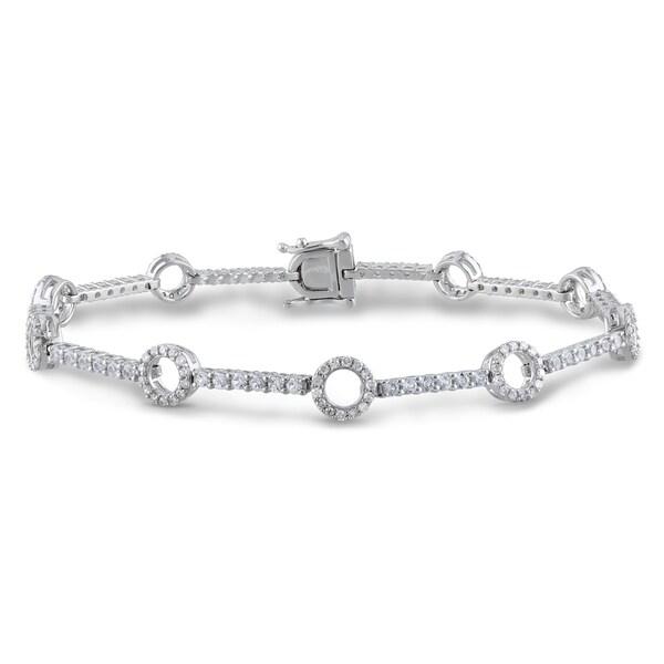 Miadora 10k White Gold White Sapphire and 3/4ct TDW Bracelet (G-H, I1-I2)