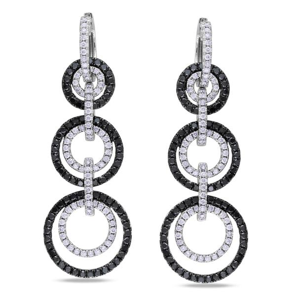 Miadora 14k White Gold 3ct TDW Black and White Linear Diamond Earrings