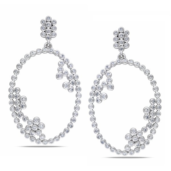 Miadora 14k Gold 1 1/4ct TDW Round Bezel Oval Diamond Earrings (G-H, SI1)