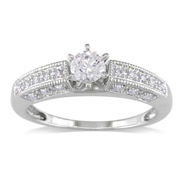 Miadora Signature Collection 14k White Gold 5/8ct TDW Diamond Engagement Ring (G-H, I1-I2)