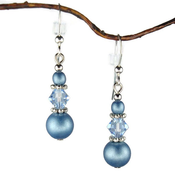 Handmade Jewelry by Dawn Blue Triple Bead Earrings (USA)