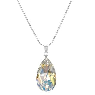 Handmade Jewelry by Dawn Large Crystal Aurora Borealis Pear Sterling Necklace (USA)