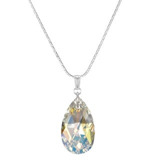 Handmade Jewelry by Dawn Large Crystal Aurora Borealis Pear Sterling Necklace