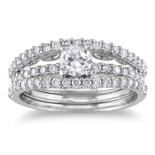 Miadora 14k White Gold Sapphire and 3/5ct TDW Diamond Bridal Ring Set