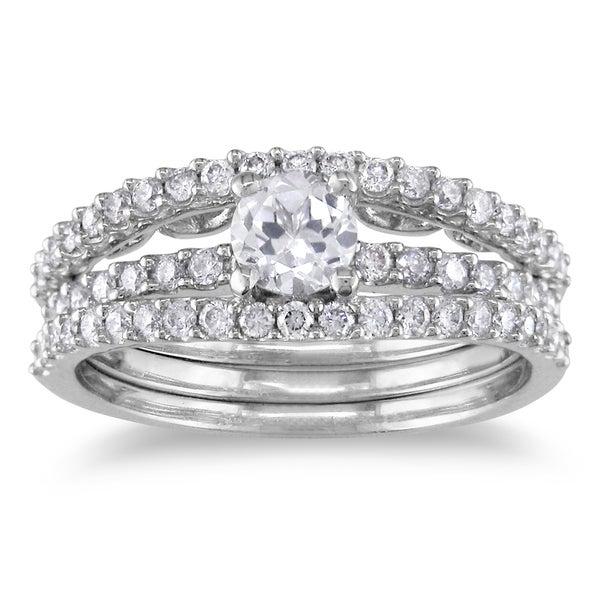 Miadora 14k White Gold Sapphire and 3/5ct TDW Diamond Bridal Ring Set