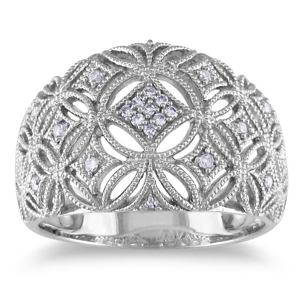 Miadora 10k White Gold 1/10ct TDW Diamond Ring
