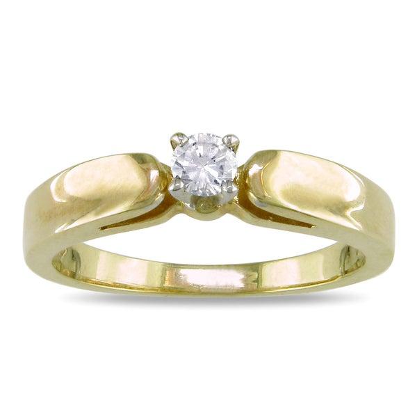 Miadora 14k Two-tone Gold 1/10ct TDW Diamond Ring