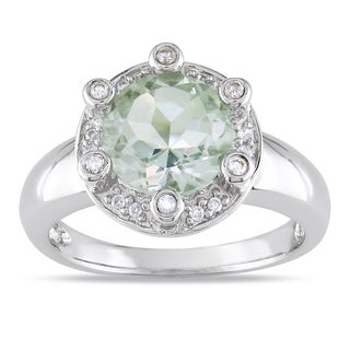 Miadora Signature Collection 14k White Gold Green Amethyst 1/5ct TDW Diamond Ring (G-H, I1-I2)