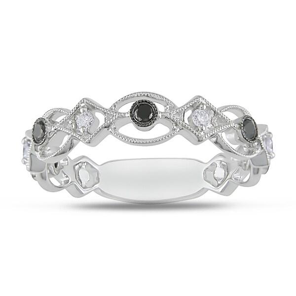 Miadora 18k White Gold 1/5ct TDW Black and White Diamond Ring