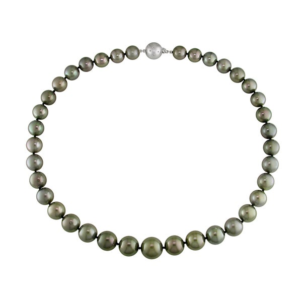 Miadora Signature Collection 14k White Gold Tahitian Pearl and Diamond Necklace (G-H, I1-I2)