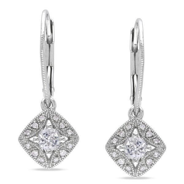 Miadora Sterling Silver Created White Sapphire and Diamond Earrings (G-H, I1-I2)