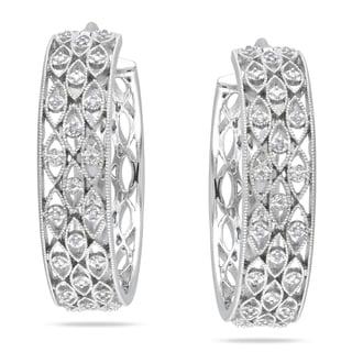 Miadora Sterling Silver 1/10ct TDW Diamond Hoop Earrings