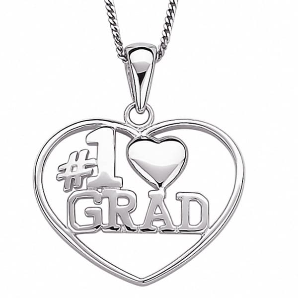 Sterling Silver #1 Grad Graduation Heart Necklace