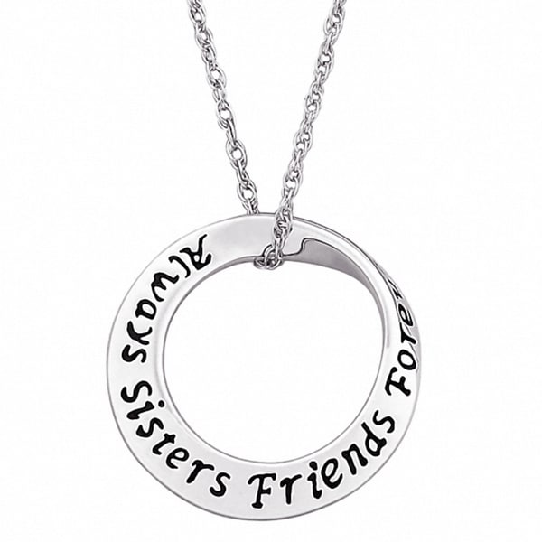 Sterling Silver Sisters Sentiment Mobius Necklace