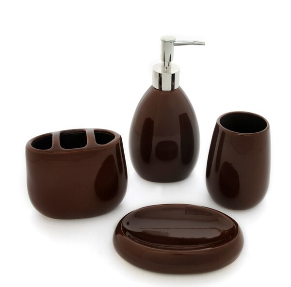 Waverly Chocolate Ceramic Bath Accessory 4-piece Set