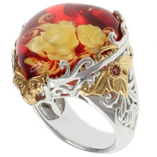 Michael Valitutti Two-tone Amber Heart Ring