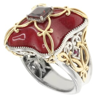 Michael Valitutti Two-tone Red Jade and Garnet Ring