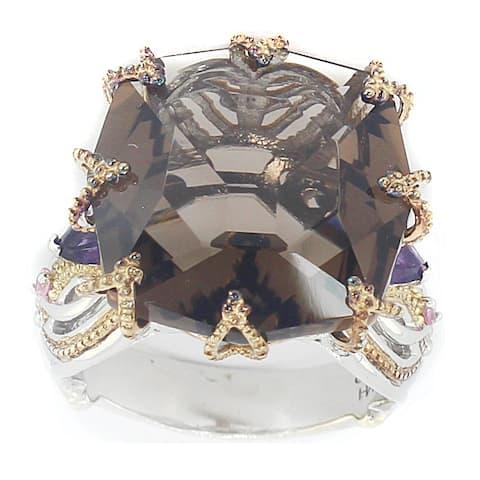 Michael Valitutti Palladium Silver Cushion Smokey Quartz, Amethyst & Pink Sapphire Ring