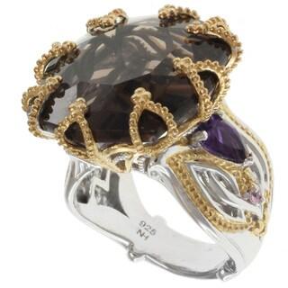 Michael Valitutti Two-tone Smokey Quartz Ring