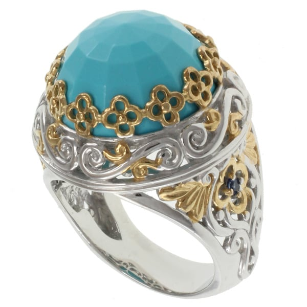 Michael Valitutti Two-tone Blue Turquoise Ring