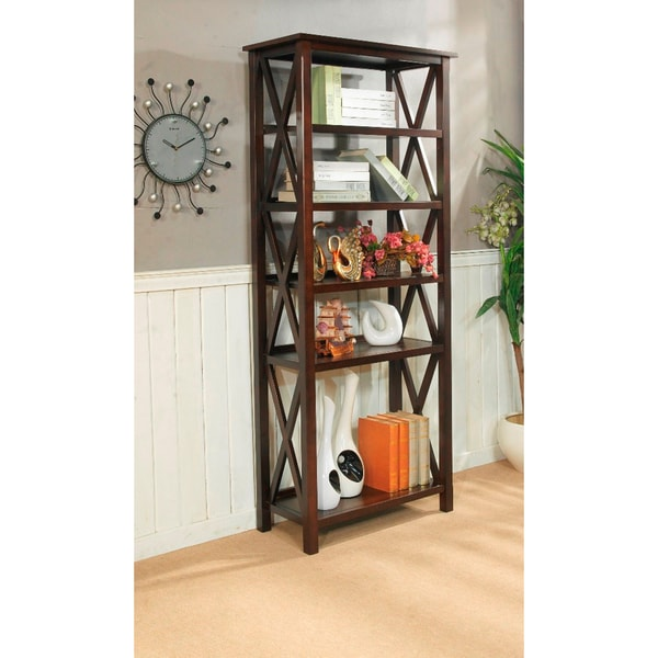 WYNDENHALL Nolan Tobacco Brown 5 Shelf Bookcase