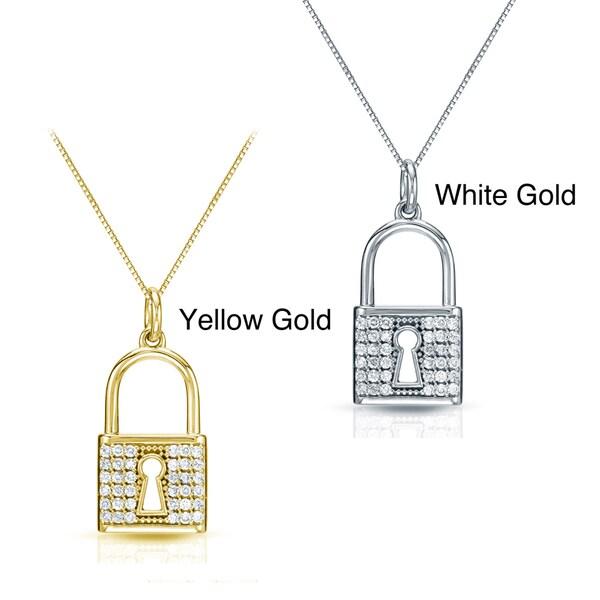 Auriya 14k Gold 2/5ct TDW Diamond Lock Necklace