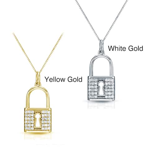 Auriya Accent Diamond Lock Pedant 2/5ctw 14k Gold