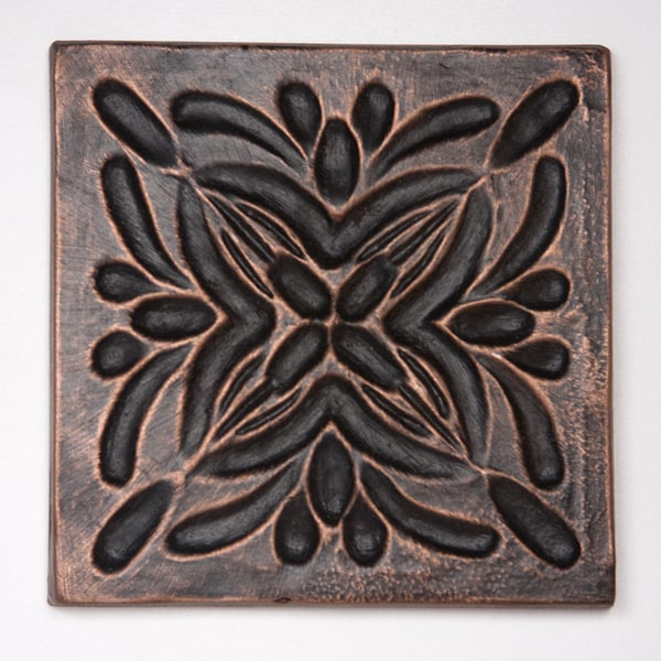 Metallicos Egyptian Rosetta Antique Copper 4-inch x 4-inch Decorative Tiles (Set of 4)