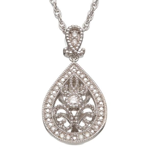 Sterling Silver 1/8ct TDW Diamond Teardrop Necklace (H-I I2)