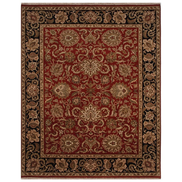 Hand-knotted Oriental Red Wool Area Rug (12' x 15')