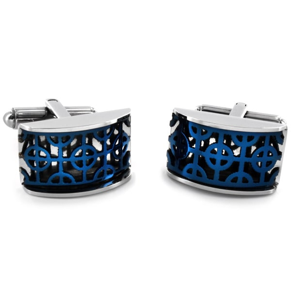 West Coast Jewelry Stainless Steel Blue-plated Filigree Cuff Links