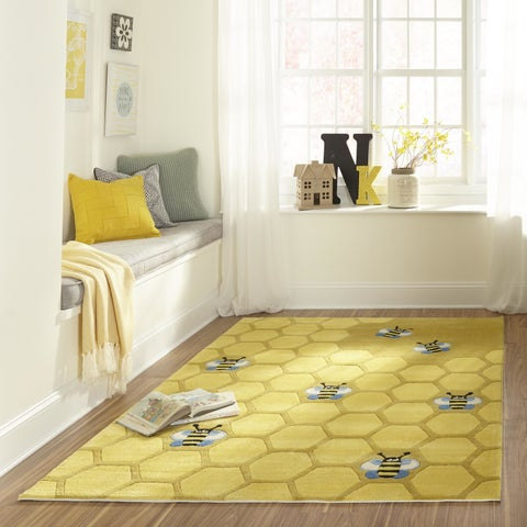 Momeni Lil Mo Whimsy Gold Honeycomb Hand-Tufted and Hand-Carved Rug