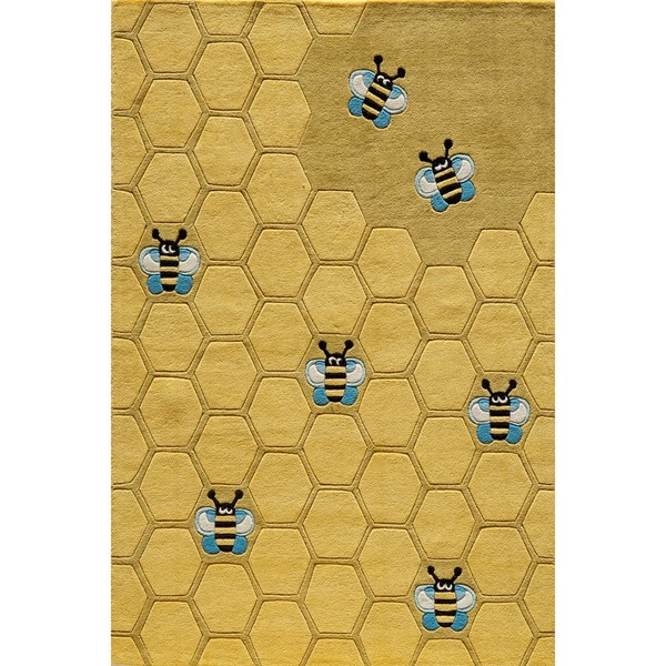 Superior Momeni Lil Mo Whimsy Gold Honeycomb Hand Tufted And Hand Carved Rug (2u0027 X  3u0027)   Free Shipping Today   Overstock.com   14809114