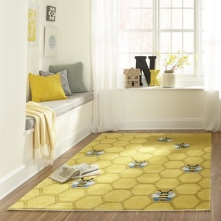 Momeni Lil Mo Whimsy Gold Honeycomb Hand-Tufted and Hand-Carved Rug (2' X 3')