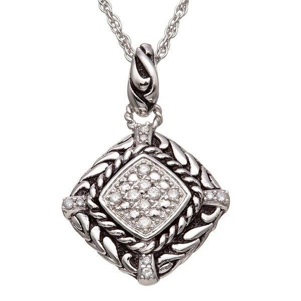 Sterling Silver 1/5 CT TDW Diamond Vintage Inspired Rope Necklace with Black Antiquing (H-I I2)