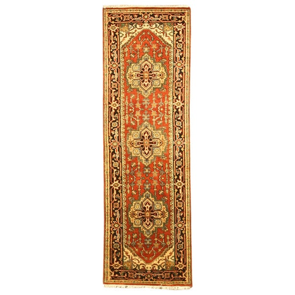 EORC Hand Knotted Wool Rust Serapi Rug (2'6 x 20')