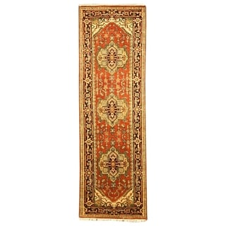 Hand-knotted Wool Rust Traditional Oriental Serapi Rug