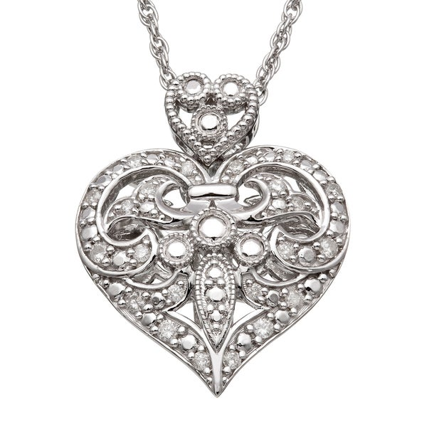 Silver 1/3ct TDW Diamond Vintage-inspired Heart Necklace (H-I, I2)