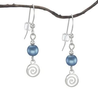 Handmade Jewelry by Dawn Blue With Silver Swirl Drop Earrings (USA)