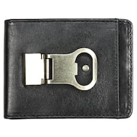 YL Men's Black Leather Bi-fold Wallet