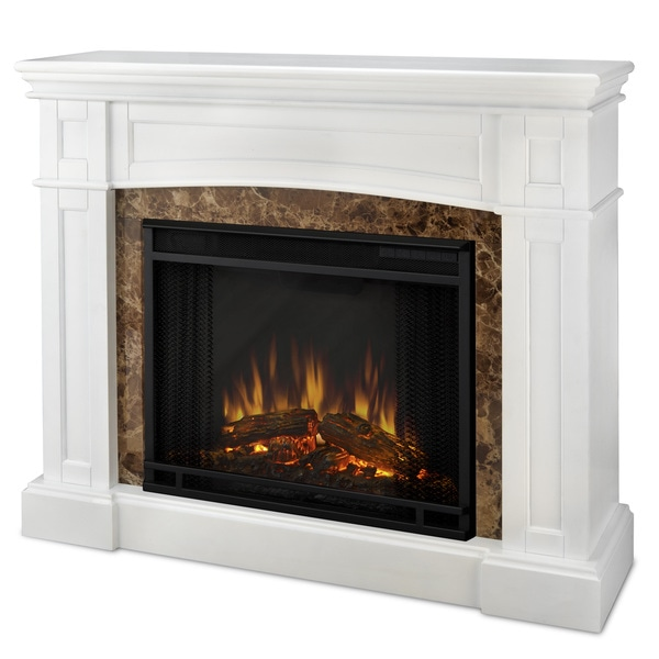 Real Flame 'Bentley' White Faux Marble Trim Electric Fireplace ...