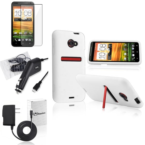 BasAcc White Case/ Chargers/ Screen Protector for HTC EVO 4G LTE