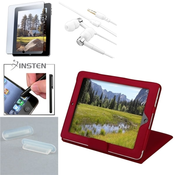 Red Case/ Protector/ INSTEN Stylus/ Headset/ Plug Cap for Apple iPad 1