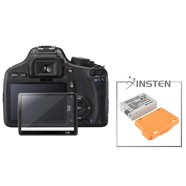 Glass Screen Protector/ INSTEN Battery for Canon Rebel T2I/ LP-E8