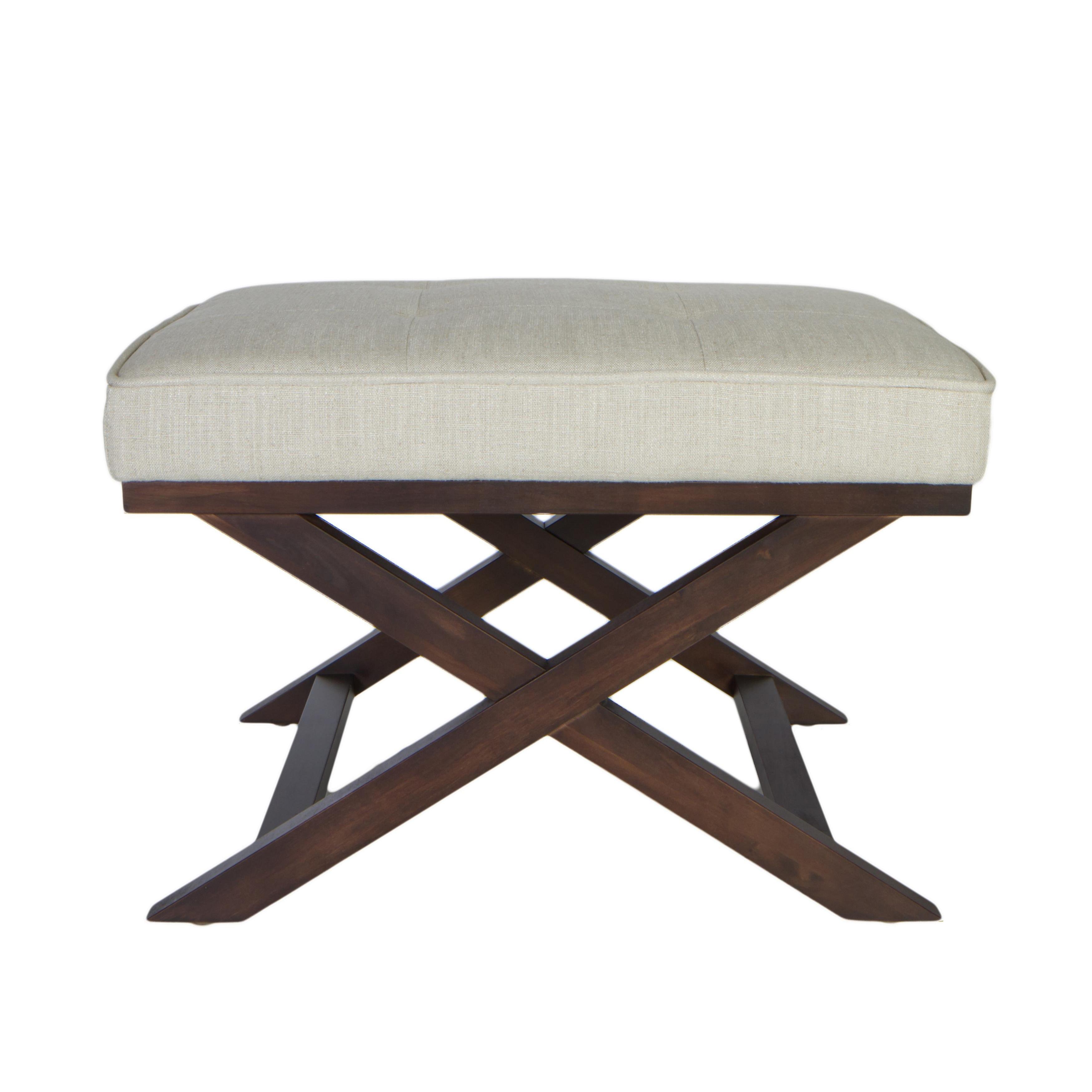 Cortesi Home Traditional Cross Legs Ari Beige Linen X Bench Ottoman